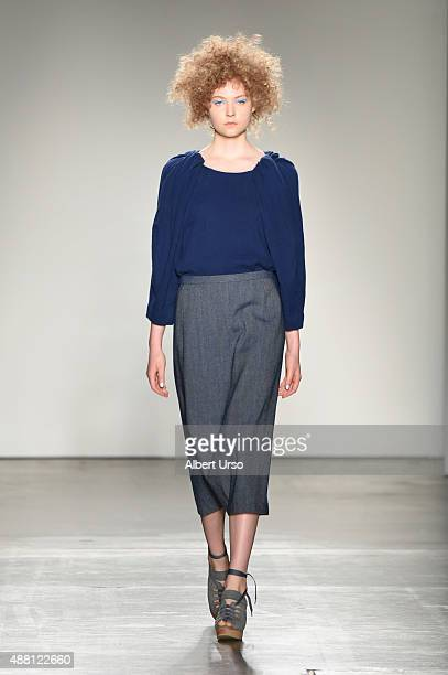 Model walks the runway at the A Detacher show during Spring 2016 New York Fashion Week: The Shows at Pier 59 on September 13, 2015 in New York City.