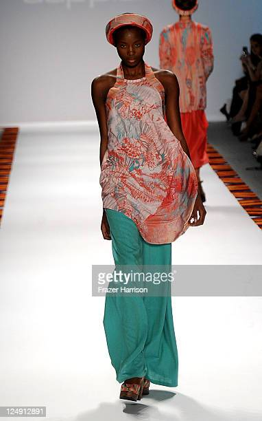 A model walks the runway at the A model walks the runway at the Argentine Designers Spring 2012 fashion show during MercedesBenz Fashion Week Spring...