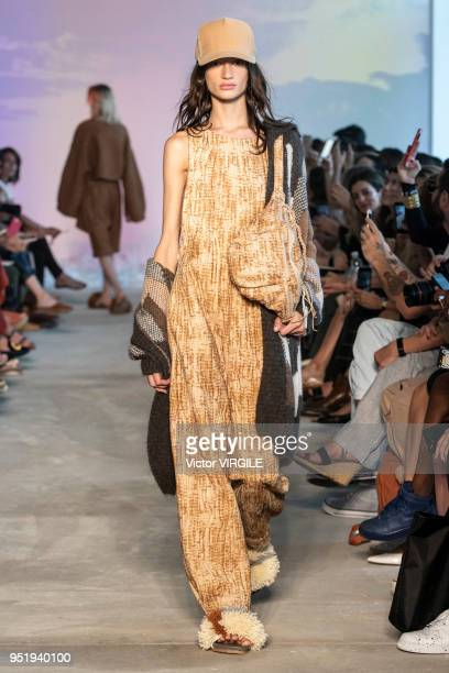 Model walks the runway at the A. Niemeyer Fall Winter 2018 fashion show during the SPFW N45 on April 25, 2018 in Sao Paulo, Brazil.