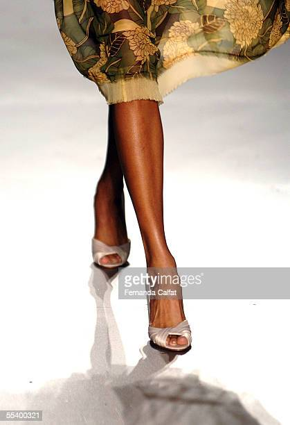 A model walks the runway at the Abaete Spring 2006 fashion show during Olympus Fashion Week at the New York Public Library September 14 2005 in New...