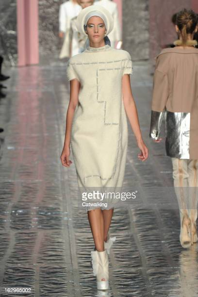 A model walks the runway at the Acne Studios Autumn Winter 2013 fashion show during Paris Fashion Week on March 2 2013 in Paris France