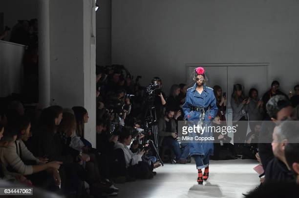 A model walks the runway at the Adam Selman Fashion Show at Skylight Clarkson Sq during New York Fashion Week The Shows on February 9 2017 in New...