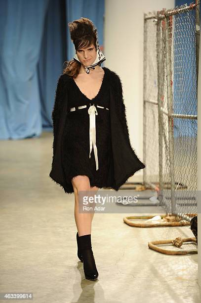 Model walks the runway at the Adam Selman show during Mercedes-Benz Fashion Week Fall 2015 on February 13, 2015 in New York City.