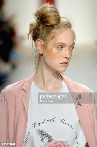 A model walks the runway at the Adam Selman show during New York Fashion Week The Shows at Gallery 2 Skylight Clarkson Sq on February 9 2017 in New...