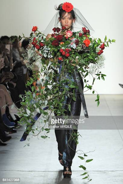 A model walks the runway at the Adam Selman show during New York Fashion Week Fall Winter 20172018 on February 9 2017 in New York City