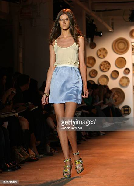 A model walks the runway at the Adam Spring 2010 Fashion Show during MercedesBenz Fashion Week at Milk Studios on September 12 2009 in New York New...