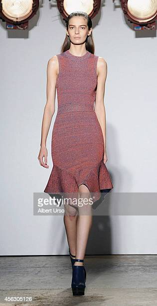 Model walks the runway at the Adeam fashion show during Mercedes-Benz Fashion Week Spring 2015 at Highline Stages on September 8, 2014 in New York...