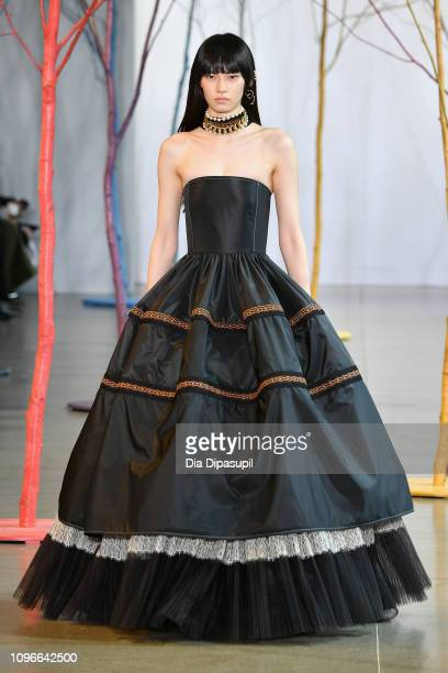 A model walks the runway at the Adeam Fashion show during New York Fashion Week The Shows at Gallery II at Spring Studios on February 9 2019 in New...