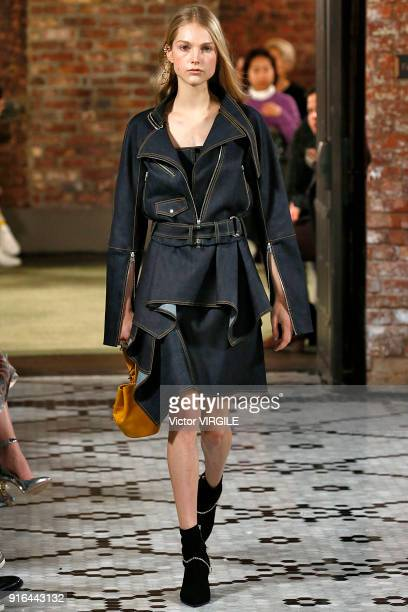 A model walks the runway at the Adeam Ready to Wear Fall/Winter 20182019 fashion show during New York Fashion Week at Beekman Hotel on February 8...