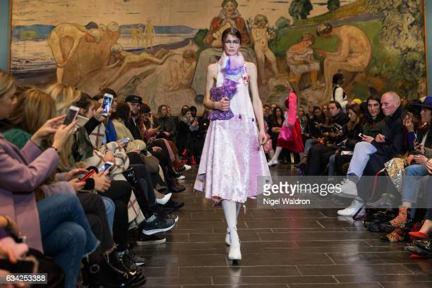 A model walks the runway at the Admir Batlak show during the Fashion Week Oslo Autumn/Winter 2017 at the Munch Museum on February 07 2017 in Oslo...