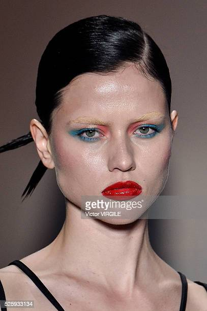 A model walks the runway at the Adriana Degreas fashion show during the Sao Paulo Fashion Week Spring/Summer 20162017 on April 26 2016 in Sao Paulo...