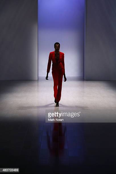A model walks the runway at the Ae'lkemi show during MercedesBenz Fashion Week Australia 2014 at Carriageworks on April 10 2014 in Sydney Australia