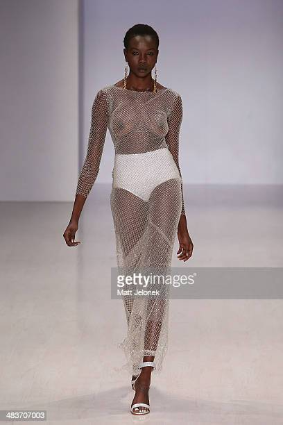 A model walks the runway at the Ae'lkmei show at MercedesBenz Fashion Week Australia 2014 at on April 10 2014 in Sydney Australia