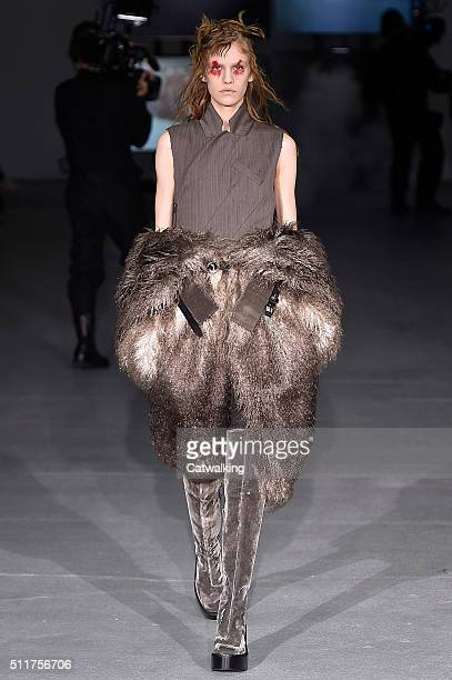 A model walks the runway at the AF Vandevorst Autumn Winter 2016 fashion show during London Fashion Week on February 22 2016 in London United Kingdom