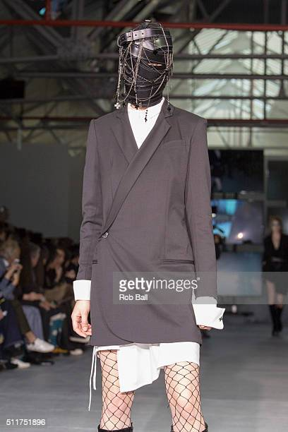 A model walks the runway at the AF Vandevorst show during London Fashion Week Autumn/Winter 2016/17 at Brewer Street Car Park on February 22 2016 in...