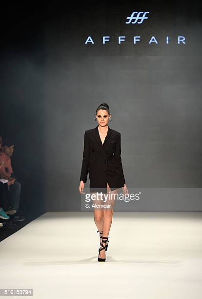 A model walks the runway at the Afffair show during the MercedesBenz Fashion Week Istanbul Autumn/Winter 2016 at Zorlu Center on March 17 2016 in...