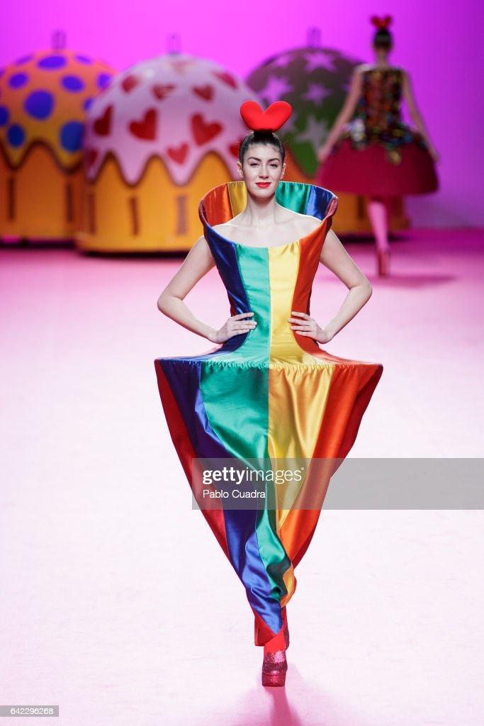 A model walks the runway at the Agatha Ruiz de La Prada show during the Mercedes-Benz Madrid Fashion Week Autumn/Winter 2017 at Ifema on February 17, 2017 in Madrid, Spain.