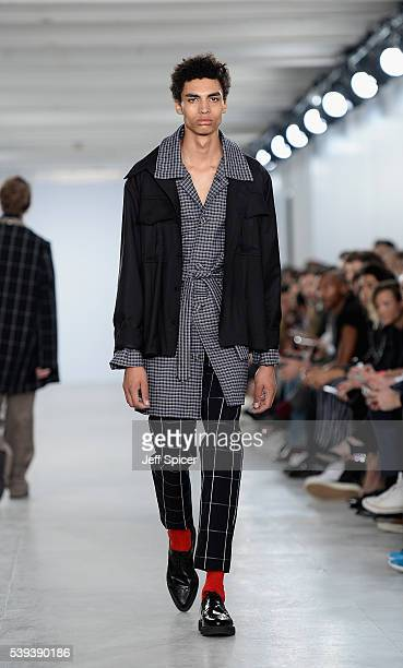 Model walks the runway at the Agi & Sam show during The London Collections Men SS17 at BFC Show Space on June 11, 2016 in London, England.