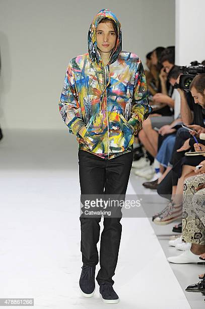 Model walks the runway at the Agnes B. Spring Summer 2016 fashion show during Paris Menswear Fashion Week on June 28, 2015 in Paris, France.