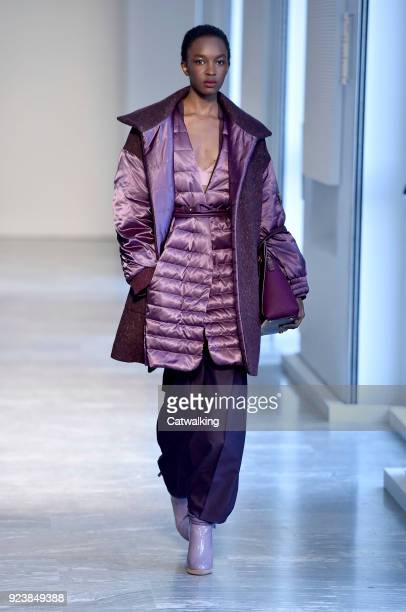 A model walks the runway at the Agnona Autumn Winter 2018 fashion show during Milan Fashion Week on February 24 2018 in Milan Italy