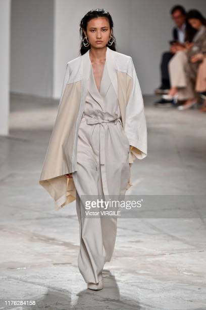 A model walks the runway at the Agnona Ready to Wear fashion fashion show during Milan Fashion Week Spring/Summer 2020 on September 21 2019 in Milan...