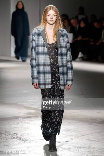 A model walks the runway at the Agnona show at Milan Fashion Week Autumn/Winter 2019/20 on February 20 2019 in Milan Italy