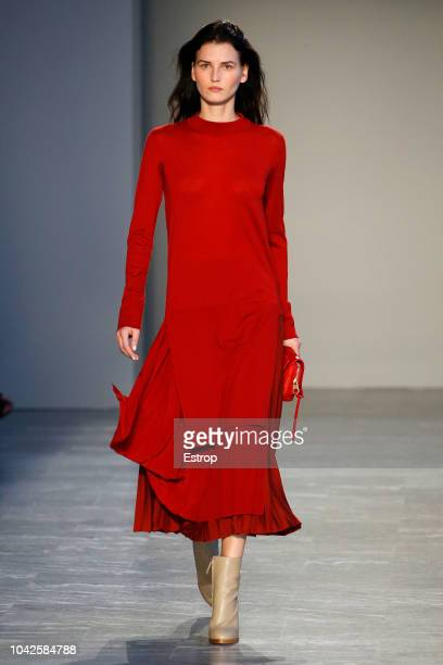 A model walks the runway at the Agnona show during Milan Fashion Week Spring/Summer 2019 on September 22 2018 in Milan Italy
