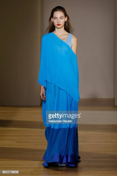 A model walks the runway at the Agnona show during Milan Fashion Week Spring/Summer 2018 on September 23 2017 in Milan Italy
