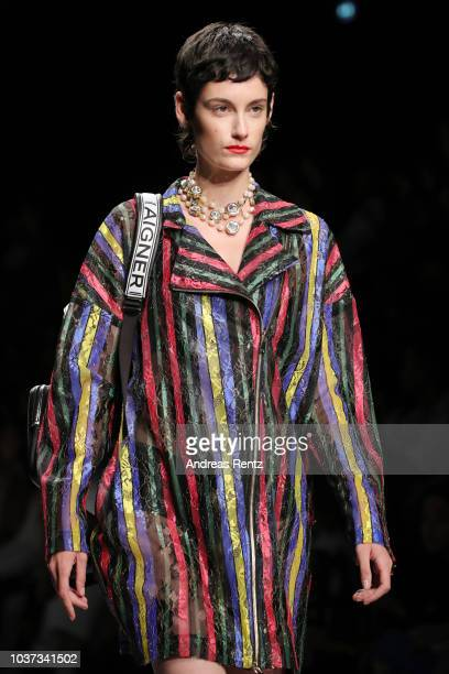 A model beauty runway detail walks the runway at the Aigner show during Milan Fashion Week Spring/Summer 2019 on September 21 2018 in Milan Italy