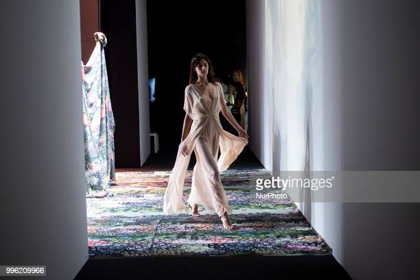A model walks the runway at the 'Ailanto' catwalk during the MercedesBenz Madrid Fashion Week Spring/Summer in Madrid Spain July 11 2018