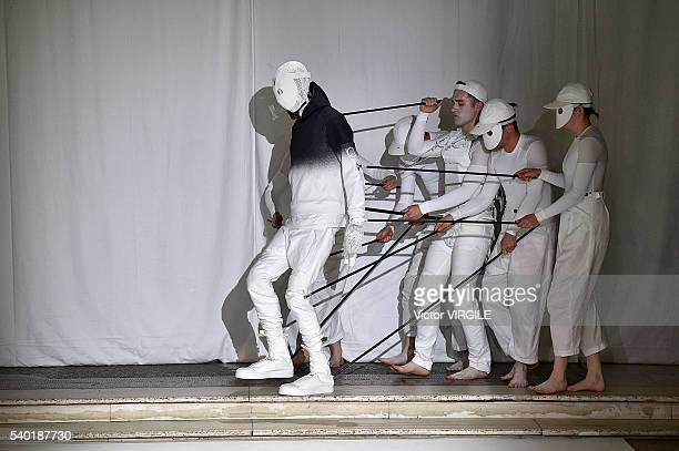 Model walks the runway at the Aitor Throup show during The London Collections Men SS17 on June 12, 2016 in London, England.