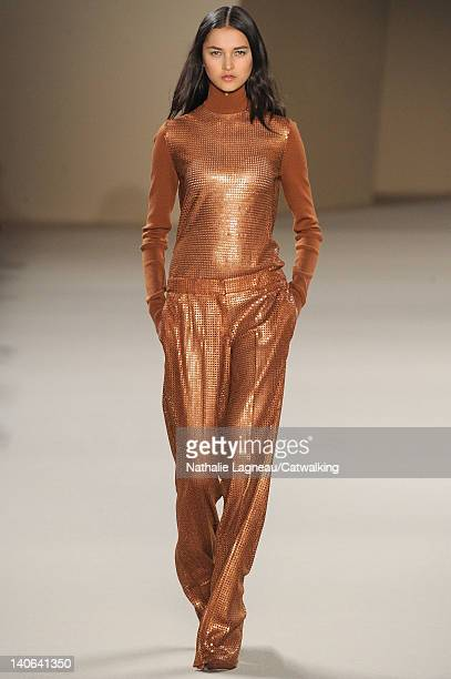 Model walks the runway at the Akris Autumn Winter 2012 fashion show during Paris Fashion Week on March 4, 2012 in Paris, France.