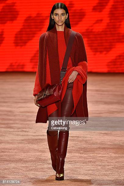 A model walks the runway at the Akris Autumn Winter 2016 fashion show during Paris Fashion Week on March 6 2016 in Paris France