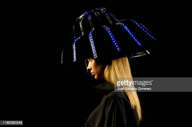 Model walks the runway at the ALASKA fashion show during the Samsung Ego - Mercedes Benz Fashion Week Spring/Summer 2020 at Ifema on July 06, 2019 in...