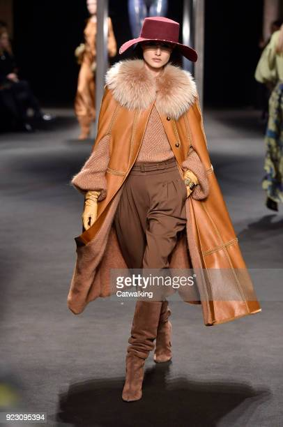 A model walks the runway at the Alberta Ferretti Autumn Winter 2018 fashion show during Milan Fashion Week on February 21 2018 in Milan Italy
