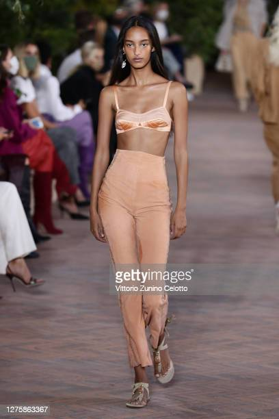 Model walks the runway at the Alberta Ferretti fashion show during the Milan Women's Fashion Week on September 23, 2020 in Milan, Italy.