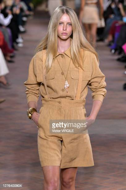 A model walks the runway at the Alberta Ferretti Ready to Wear Spring/Summer 2021 fashion show during the Milan Women's Fashion Week on September 23...