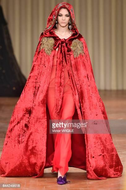 A model walks the runway at the Alberta Ferretti Ready to Wear fashion show during Milan Fashion Week Fall/Winter 2017/18 on February 22 2017 in...