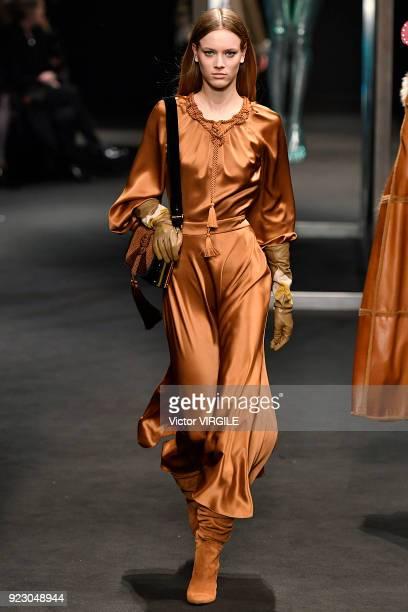 A model walks the runway at the Alberta Ferretti Ready to Wear Fall/Winter 20182019 fashion show during Milan Fashion Week Fall/Winter 2018/19 on...