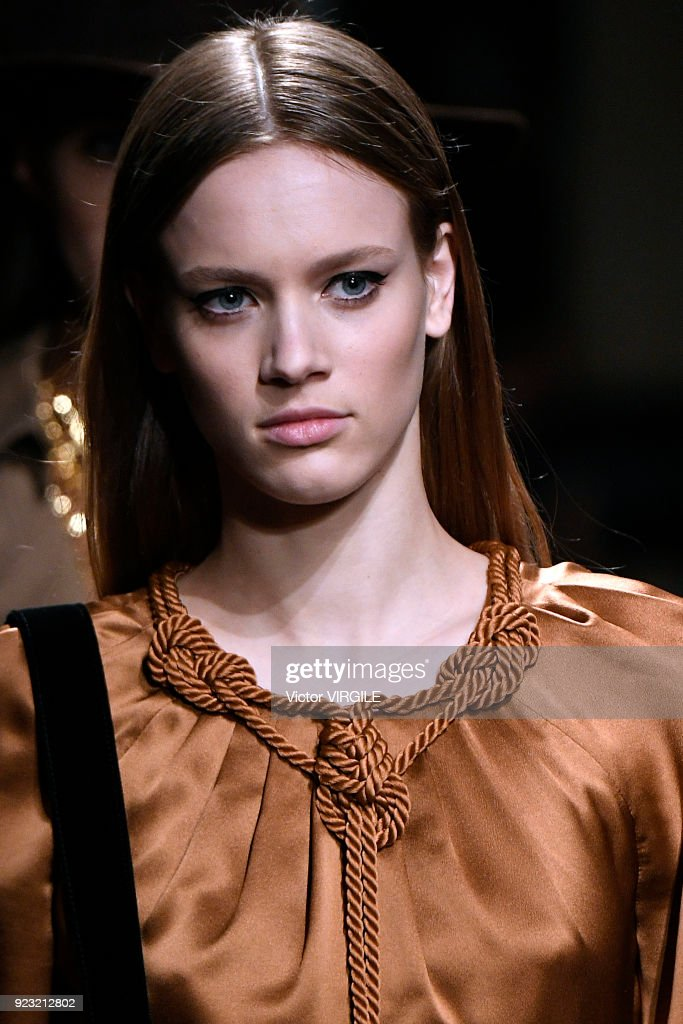 A model walks the runway at the Alberta Ferretti Ready to Wear Fall/Winter 2018-2019 fashion show during Milan Fashion Week Fall/Winter 2018/19 on February 21, 2018 in Milan, Italy.