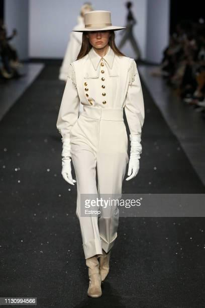 Model walks the runway at the Alberta Ferretti show at Milan Fashion Week Autumn/Winter 2019/20 on February 20, 2019 in Milan, Italy.
