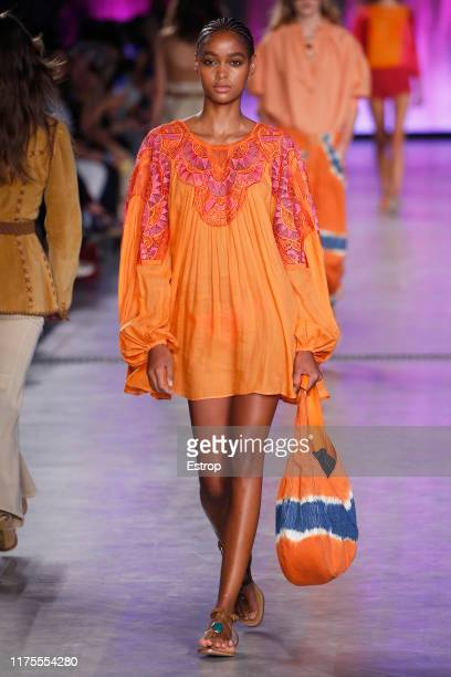 A model walks the runway at the Alberta Ferretti show during Milan Fashion Week September 2019 at Italy on September 18 2019 in Milan Italy