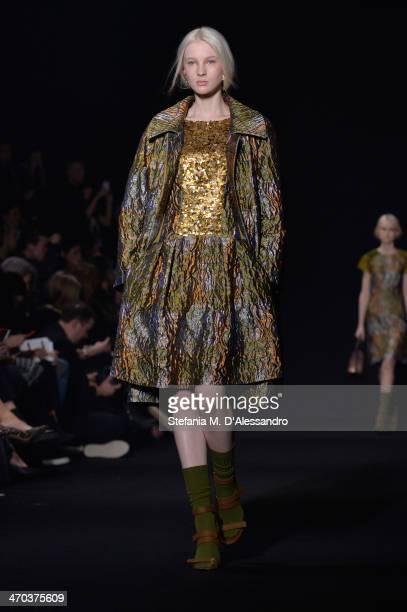 A model walks the runway at the Alberta Ferretti Show during Milan Fashion Week Womenswear Autumn/Winter 2014 on February 19 2014 in Milan Italy