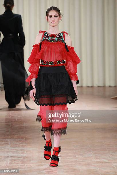 Model walks the runway at the Alberta Ferretti show during Milan Fashion Week Spring/Summer 2017 on September 21, 2016 in Milan, Italy.