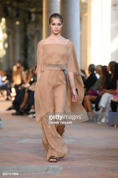 A model walks the runway at the Alberta Ferretti show during Milan Fashion Week Spring/Summer 2018 on September 20 2017 in Milan Italy