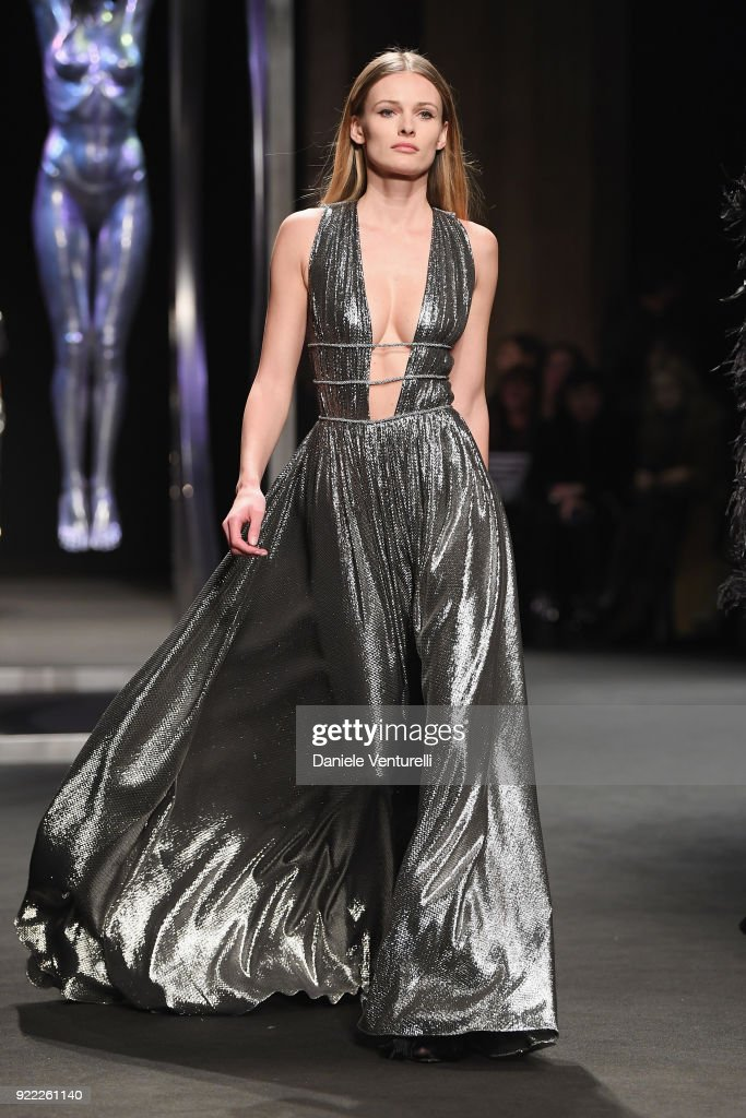 A model walks the runway at the Alberta Ferretti show during Milan Fashion Week Fall/Winter 2018/19 on February 21, 2018 in Milan, Italy.