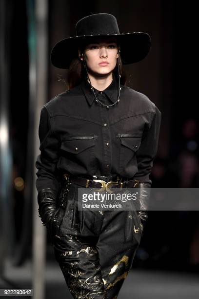 A model walks the runway at the Alberta Ferretti show during Milan Fashion Week Fall/Winter 2018/19 on February 21 2018 in Milan Italy