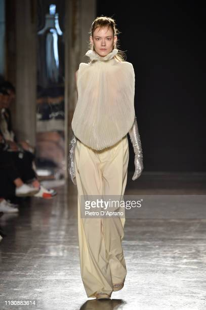 A model walks the runway at the Alberto Zambelli show at Milan Fashion Week Autumn/Winter 2019/20 on February 20 2019 in Milan Italy