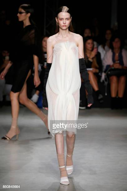 A model walks the runway at the Alberto Zambelli show during Milan Fashion Week Spring/Summer 2018 on September 20 2017 in Milan Italy