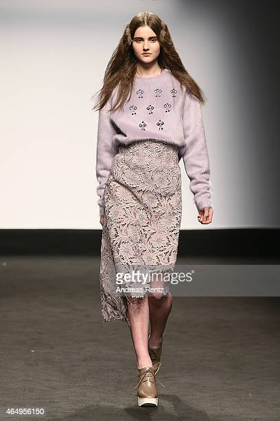A model walks the runway at the Alberto Zambelli show during the Milan Fashion Week Autumn/Winter 2015 on March 2 2015 in Milan Italy
